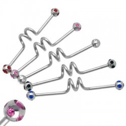 Surgical Steel Spiral Industrial Barbells with Multi Crystals Balls