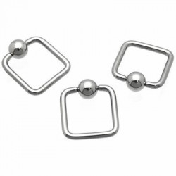 Square Surgical Steel Captive Bead Rings