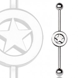 Surgical Steel Ball Industrial Barbell with Star in Center