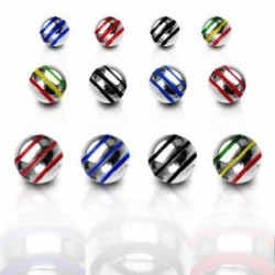 Surgical Steel Striped Color Ball Body Jewelry Parts