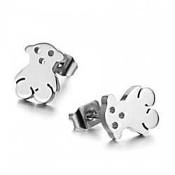 Cutting Bear Stainless Steel Ear Studs
