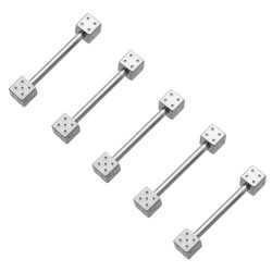 Surgical Steel Straight Barbells with Dices