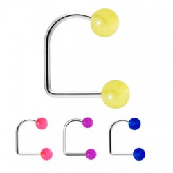 Surgical Steel Lippy Loop Labret with Glow-in-dark Acrylic Balls