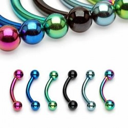 Titanium Anodized Surgical Steel Banana / Curved Barbells