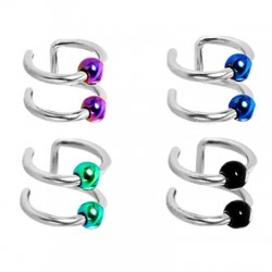 Titanium Anodized Beads Double Closure Fake Cartilage Tragus Rings
