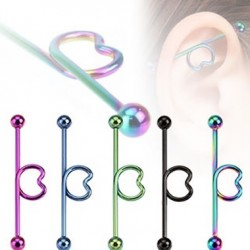 Titanium Anodized Surgical Steel Heart Loop Industrial Barbells