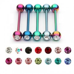Titanium Anodized Surgical Steel Industrial Barbell with Single Gem Ball