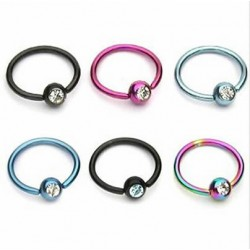 Titanium Anodized Jeweled Surgical Steel Captive Bead Rings