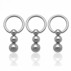 Triple Vertical Ball Surgical Steel Captive Bead Rings