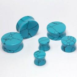 Turquoise Double Flare Stone Plugs