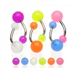 Belly Button Rings with Glow-in-the-dark Acrylic UV Balls
