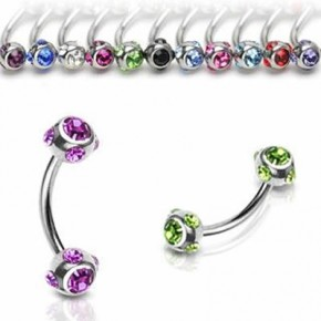 Multi Crystals Ball Surgical Steel Banana / Curved Barbells