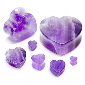 Amethyst Heart Shaped Stone Plugs