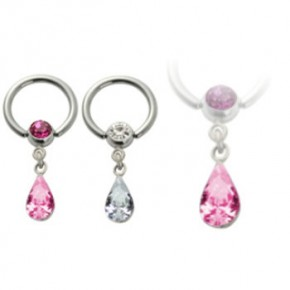 Surgical Steel Captive Bead Rings with Dangle Teardrop CZ