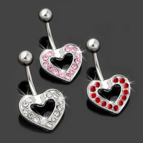 Multi Crystal Heart Ball Surgical Steel Navel Belly Ring