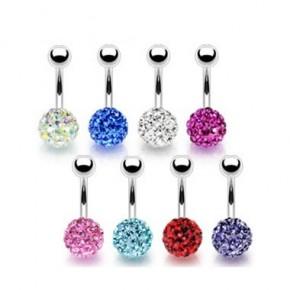 Multi Crystaline Ferido Ball Navel Belly Rings