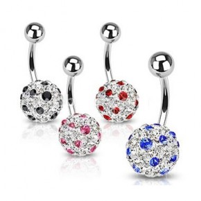 Dot Multi Crystaline Ferido Ball Navel Belly Rings