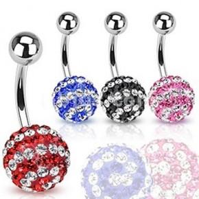 Strip Color Multi Crystaline Ferido Ball Navel Belly Rings