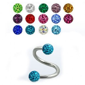 Epoxy Crystaline Ferido Ball Surgical Steel Sprial / Twister Barbells