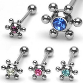 Jeweled Flower Ball Straight Barbell with 6 Balls