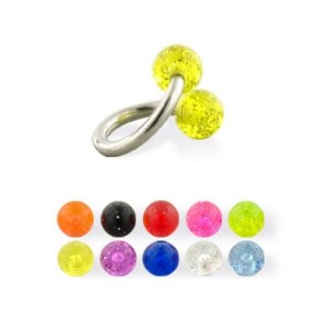Glitter Acrylic UV Balls Sprial / Twister Barbells