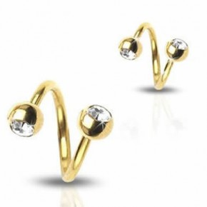 Gold Plated Jeweled Surgical Steel Sprial / Twister Barbells