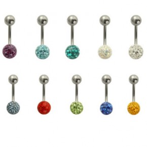 Surgical Steel Navel Belly Ring with Epoxy Crystaline Ferido 8mm Ball