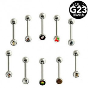 G23 Titanium Straight Barbells with Picture Logo Ball