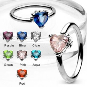 Prong Set Heart CZ Surgical Steel Captive Bead Rings