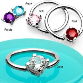 Prong Set Round CZ Surgical Steel Captive Bead Rings