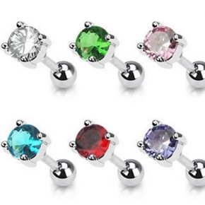 Prong Set Round Cubic Zirconia Tragus Cartilage Straight Barbells