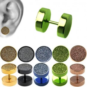 Titanium Anodized Surgical Steel Fake Plugs Faux Ear Plugs with Sand Blasting