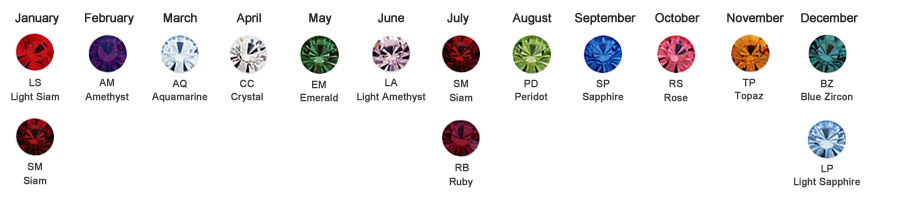 Birthstone Crystal Color Chart for Body Jewelry
