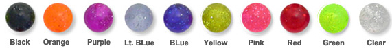 Body Jewelry Glitter Acrylic Ball Color Chart
