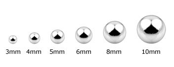 Ball Replacements Size Chart