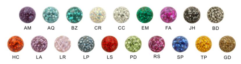 Body Jewelry Ferido Ball Colors Chart